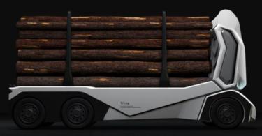 A startup sueca Einride apresentou recentemente o T-log, um camião de transporte de madeira autónomo e 100% elétrico.
