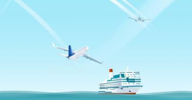 Os números das emissões do tráfego aéreo e transporte marítimo de mercadorias