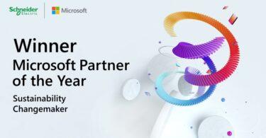 """A Schneider Electric foi reconhecida pela Microsoft com o prémio Parceiro """"Sustainability Changemaker"""" do ano 2021, devido ao EcoStruxure."""